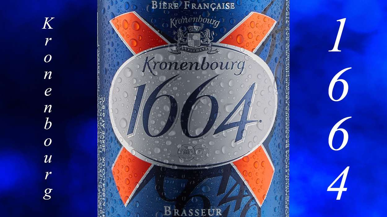 Kronenbourg 1664 can close up with water droplets-studio packshot by Bernard Bleach Photography